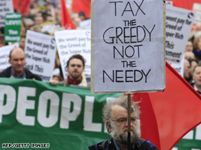 Protesters march in Dublin angry over the government's handling of the economy.