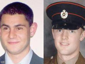 Soldiers Cengiz Azimkar, left, and Mark Quinsey were killed last Sunday at a base in Massereene.