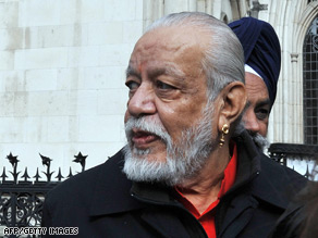Davender Ghai arrives at the High Court for his challenge to be allowed to be cremated on a funeral pyre.