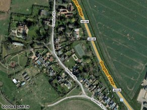 Broughton, can be seen from the air on Google Earth, but not from the ground.
