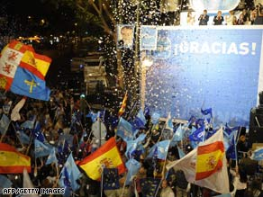 Supporters of the Spanish opposition party Partido Popular celebrate in Madrid Sunday night.