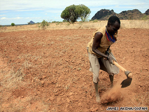 Farmers in Uganda have little choice but to attempt to cultivate crops on arid land.