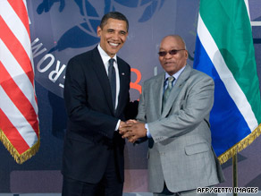 President Obama greets his South African counterpart, Jacob Zuma, on Friday at the Group of Eight summit.