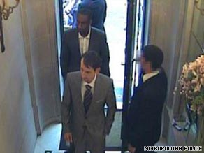 Security camera footage shows images of the men wanted by police.