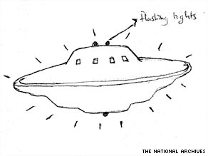 A sketch of a UFO made by a witness following a sighting in 1993.