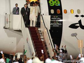 Abdelbaset Ali Mohmed al Megrahi, second from left, arrives in Tripoli, Libya, on August 21.