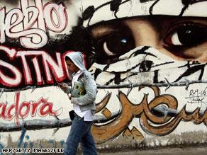 A pro-Palestinian mural in the Venezuelan capital, Caracas.