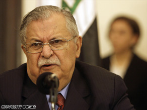 Iraqi President Jalal Talabani could be jeopardized by the resignations of five key members of his party.