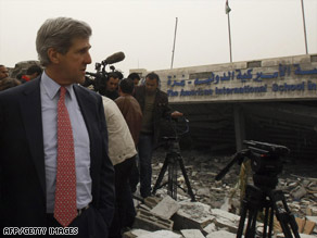 Sen. John Kerry tours Gaza's ruins with U.N. officials Thursday, the day he reportedly got a letter from Hamas.