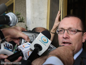 US envoy Jeffrey Feltman briefs reporters after meeting with the Syrian foreign minister in Damascus Saturday.