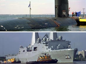 The submarine USS Hartford and amphibious ship USS New Orleans are shown in Navy photos.