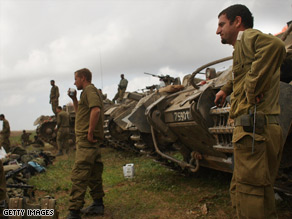 Israeli soldiers, just back from Gaza, January 17, 2009, along the Gaza-Israeli border in Israel.