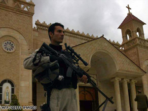 Due to persecution, Christians in Iraq have had to rely on Iraqi security forces, as shown here on Easter Sunday.