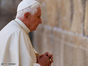 Pope Benedict XVI prays at the Old City's Western Wall, also known as the Wailing Wall.