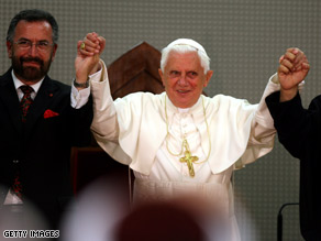 Pope Benedict XVI meets with religious leaders at the Basilica of the Annunciation in Nazareth, Israel.