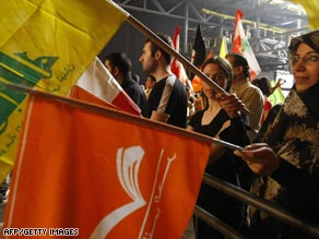 A rally for Hezbollah supporters with yellow flags and their allies, the Free Patriotic Movement in Beirut.