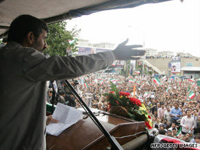 President Mahmoud Ahmadinejad attends a rally Wednesday in Tehran.