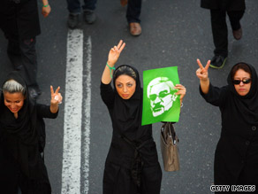 Iranian supporters of defeated reformist presidential candidate Mir Hossein Mousavi demonstrate on June 17, 2009, in Tehran.