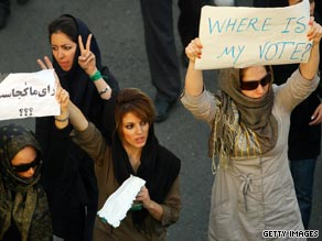 The modern face of Iran -- seen in this June 15 photo -- is also represented at anti-Ahmadinejad protests.