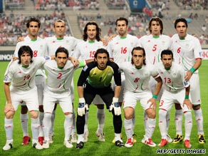 Members of Iran's national soccer team sported green armbands in their game against South Korea.