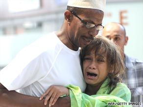 Relatives of passengers on the doomed jet arrive at Marseille airport in southern France.