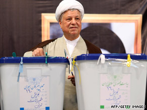 Ex-President Ali Akbar Hashemi Rafsanjani, here voting in Iran on June 12, says trust has been eroded.