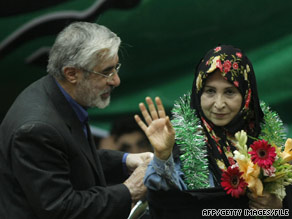 Iranian opposition leader Mir Hossein Moussavi and wife Zahra Rahnavard in Tehran in May