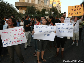 Left-wing Israeli activists protest against the eviction of Palestinians from their homes in east Jerusalem.