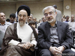 Opposition leaders Mir Hossein Moussavi (right) and ex-president Mohammad Khatami blasted the trials.