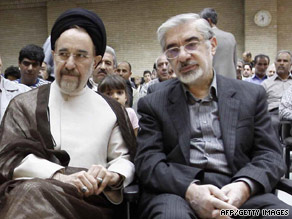 A top official in Iran wants to put former President Mohammad Khatami, left, and Mir Hossein Moussavi on trial.