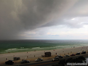 Tropical Storm Claudette is seen off the coast of Destin, Florida, on Sunday afternoon.