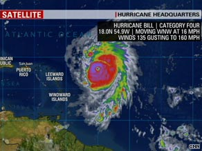 Hurricane Bill was about 460 miles east of the Leeward Islands at 5 a.m. ET Wednesday.