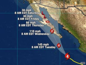 Forecasters expect Hurricane Jimena to hit Mexico's Baja California peninsula by Tuesday evening.