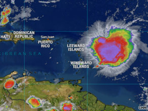 Tropical Storm Erika strengthened late Tuesday; it's east of the Leeward Islands, in the Atlantic Ocean.