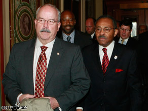 Terrance Gainer, the Senate Sergeant at Arms, escorted Roland Burris at the Capitol Tuesday when Burris tried to claim the seat vacated by President-elect Obama.