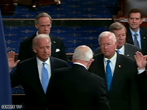 Cheney swore in Biden to the Senate Tuesday.