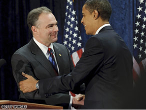 President-elect Obama announced Thursday that he's chosen his friend and supporter Virginia Gov. Tim Kaine to run the DNC.
