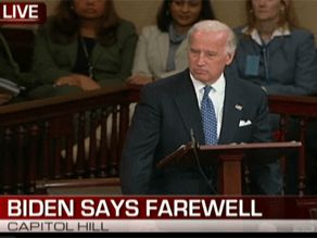 Biden is delivering his farewell speech to the Senate.