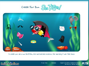 You can make a cute little sea kitten character like this at the new section of PETA's Web site, peta.org/sea_kittens.