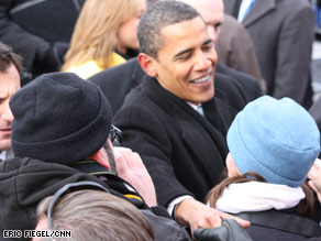 President-elect Obama shakes hands after speaking in Wilmington, Delaware.