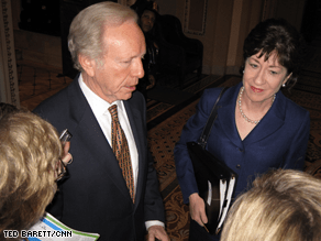Collins and Lieberman are among those negotiating the latest version of the stimulus bill.