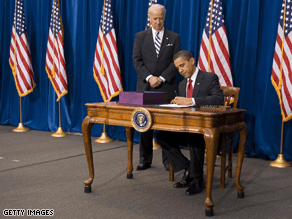 Obama signed the stimulus bill in Colorado Tuesday.