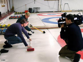 Gary Tuchman tests out his curling skills in Fargo, North Dakota.