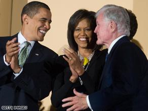 Obama led the chorus of Happy Birthday at the Kennedy Center last night.