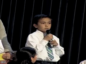 California third grader Ethan Lopez told the president Thursday that many teachers at his school had been let go because of budget cuts.