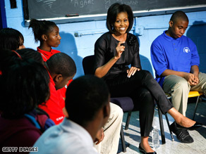 Michelle Obama spoke to students at Anacostia High School in Washington, DC Thursday.