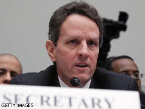 Treasury Secretary Timothy Geithner testifies on Capitol Hill today.