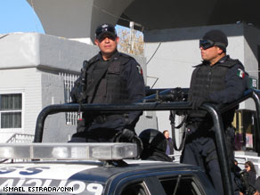 Cops on patrol in Juarez, Mexico.