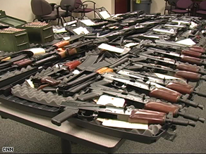 Weapons seized by federal agents before they were smuggled across the border into Mexico.