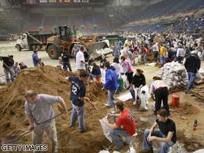 Volunteers fill sandbags at the Fargodome in Fargo, North Dakota.